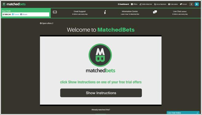 matchedbets dashboard